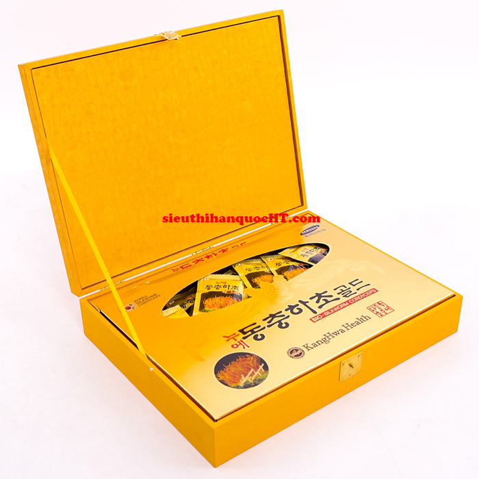 nước đông trùng hạ thảo 60 gói hộp gỗ vàng kanghwa