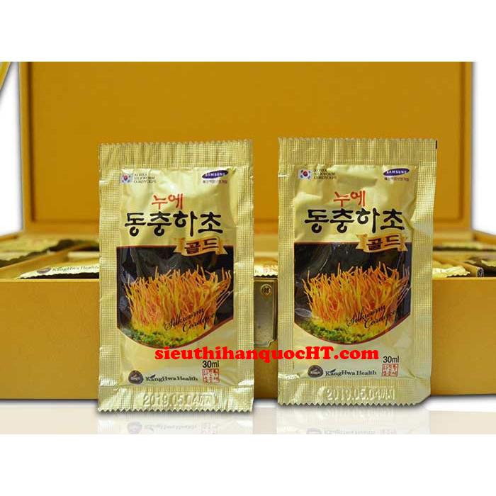 nước đông trùng hạ thảo hộp gỗ vàng 60 gói 30ml kanghwa