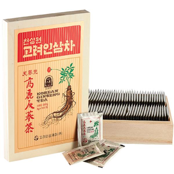 trà hộp gỗ 100 gói hàn quốc