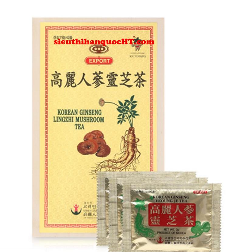 trà hồng sâm hàn quốc 100 gói hộp gỗ